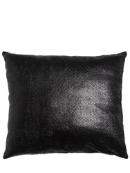Cutuli Home Snake Embossed Leather Pillow Black