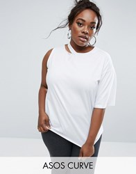 Asos Curve Deconstructed T Shirt With One Sleeve White