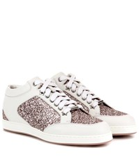 Jimmy Choo Miami Leather And Glitter Sneakers White