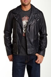 Lucky Brand Titan Genuine Leather Moto Jacket Blue