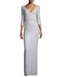 Jenny Packham 3 4 Sleeve Embellished Column Gown Pale Wisteria Women's Pale Wistera