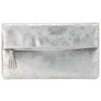 John Lewis Ivy Clutch Bag Silver Navy