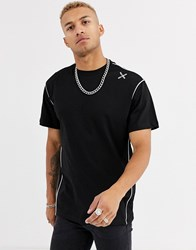 Religion Oversized T Shirt With Stitch Detail In Black