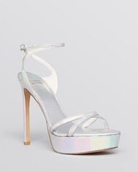 Stuart Weitzman Open Toe Platform Evening Sandals Bebare High Heel Silver