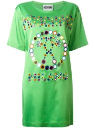 Moschino Mirror Embroidered Logo T Shirt Dress Green