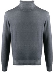 Dell'oglio Ribbed Knit Roll Neck Jumper Grey