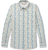 Gucci Printed Cotton Poplin Shirt Light Blue
