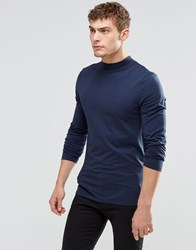 Asos Muscle Long Sleeve T Shirt With Turtle Neck In Navy Navy