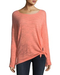 Minnie Rose Knotted Linen Blend Pullover Top Plus Size Tequila