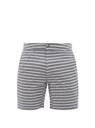 Onia Calder Striped Seersucker Swim Shorts Charcoal
