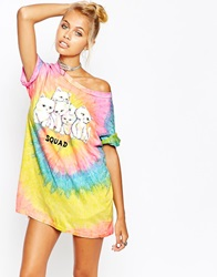 Unif Oversized Boyfriend T Shirt With Cat Squad Print On Rainbow Back Multirainbow
