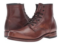 Frye Arkansas Mid Leather Cognac Vintage Pull Up Men's Lace Up Boots Brown