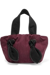 Staud Ronnie Knotted Satin Twill Tote Red