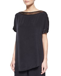 Go Silk Silk Boat Neck Easy Tunic Black Women's