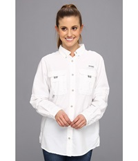 Columbia Bahama L S Shirt White Women's Long Sleeve Button Up