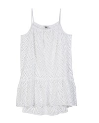 Milly Minis Chevron Crochet High Low Coverup White
