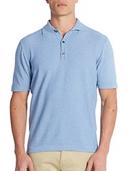 Saks Fifth Avenue Memphis Cotton Pique Polo Shirt Medium Blue
