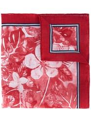 Kiton Floral Print Pocket Square Men Linen Flax One Size Red