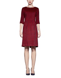 Pink Tartan Dogtooth Shift Dress Black Red