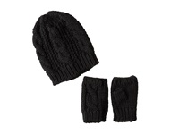 San Diego Hat Company Knh3340 Cable Knit Fingerless Gloves Beanie Set Black Beanies