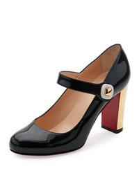 Christian Louboutin Bibaba Patent Red Sole Pump Black