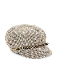 August Hats Chainlink Accent Knit Newsboy Hat Camel
