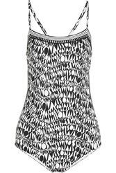 Missoni Crochet Knit Trimmed Printed Swimsuit Black