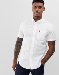 Abercrombie And Fitch Icon Logo Short Sleeve Oxford Shirt In White
