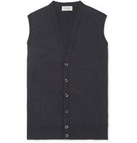 John Smedley Stavely Merino Wool Sweater Vest Gray