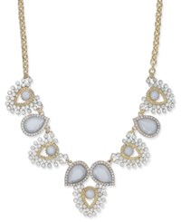 Inc International Concepts Gold Tone Multi Stone Statement Necklace Created For Macy's White