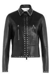 Valentino Embellished Leather Jacket Black