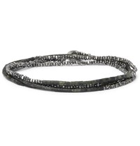 M.Cohen Sterling Silver And Beaded Wrap Bracelet Green