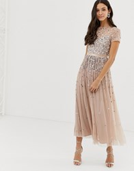 Maya Cap Sleeve Midaxi Dress With Applique Delicate Sequins In Taupe Blush Brown