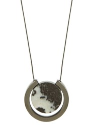 Mint Velvet Gunmetal And Grey Marble Pendant Necklace Grey