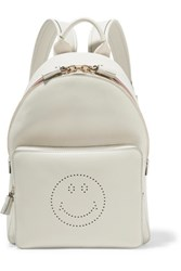 Anya Hindmarch Smiley Mini Striped Perforated Leather Backpack Off White