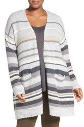 Caslon Stripe Open Front Cardigan Plus Size Gray