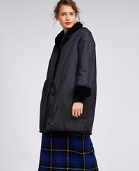 Aspesi Reversible Fake Fur Nylon Coat Black