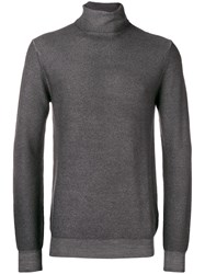 Paolo Pecora Roll Neck Fitted Sweater Grey