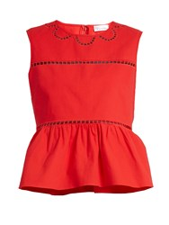 Red Valentino Ladder Lace Trimmed Cotton Top Red
