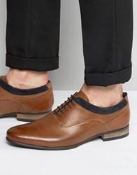 Asos Oxford Shoes In Tan Leather With Navy Suede Detail Tan