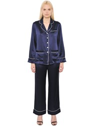 Olivia Von Halle Contrasting Piping Silk Satin Pajama Set