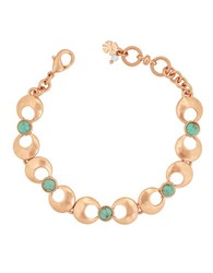 Lucky Brand Tropical Turquoise Semi Precious Rock Crystal Link Bracelet Rose Gold