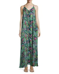 Lucca Couture V Neck Sleeveless Printed Maxi Dress Teal Pink
