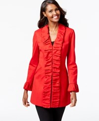 Inc International Concepts Lightweight Ruffle Jacket Only At Macy's Glamorous Red