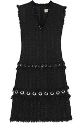 Lanvin Eyelet Embellished Tweed Mini Dress Black