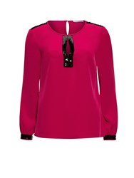 Gina Bacconi Soho Crepe Blouse With Sequin Trim Pink