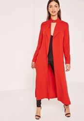 Missguided Red Premium Crepe Buckle Neck Waterfall Duster Coat