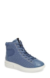 Ecco Women's Soft 3 High Top Sneaker Retro Blue Leather