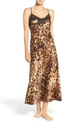 Natori Leopard Nightgown Brown