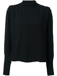 Isabel Marant Ruched Collar Blouse Black